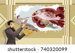 god creating adam man classic... | Shutterstock .eps vector #740320099