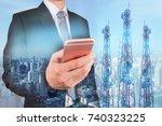 double exposure of businessman...   Shutterstock . vector #740323225