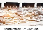 blurred of car parking lot at... | Shutterstock . vector #740324305