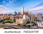 dallas  texas  usa downtown... | Shutterstock . vector #740324749