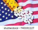 white pharmaceutical pills... | Shutterstock . vector #740331127