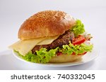burger full face with...   Shutterstock . vector #740332045