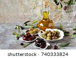 olive products   olive oil ... | Shutterstock . vector #740333824