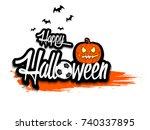 banner happy halloween and... | Shutterstock .eps vector #740337895