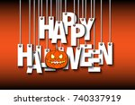 letters happy halloween and... | Shutterstock .eps vector #740337919