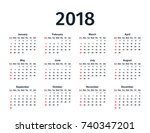 calendar 2018 in simple style.... | Shutterstock .eps vector #740347201