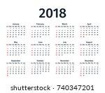 calendar 2018 in simple style.... | Shutterstock .eps vector #740347201