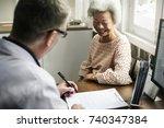 an elderly patient meeting...   Shutterstock . vector #740347384