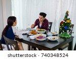 lover asians celebrate the...   Shutterstock . vector #740348524