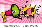 pop art megaphone woman smile