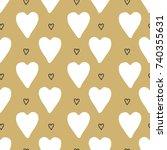 seamless pattern hearts the...   Shutterstock . vector #740355631