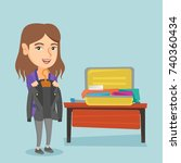 young caucasian woman packing... | Shutterstock .eps vector #740360434