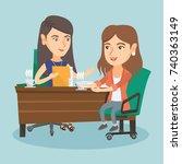 two caucasian business women... | Shutterstock .eps vector #740363149