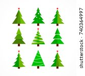 christmas tree cartoon ... | Shutterstock . vector #740364997
