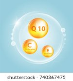 serum and vitamin background... | Shutterstock .eps vector #740367475