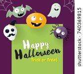 halloween background vector... | Shutterstock .eps vector #740369815