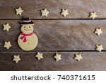 festive christmas cookie and... | Shutterstock . vector #740371615