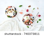 healthy breakfast. berry...   Shutterstock . vector #740373811