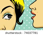 woman telling secrets  pop art... | Shutterstock .eps vector #74037781