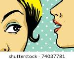 Stock vector woman telling secrets pop art retro style illustration 74037781