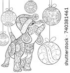adult coloring page book a cute ... | Shutterstock .eps vector #740381461