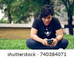 a girl student using samsung... | Shutterstock . vector #740384071