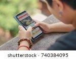 a girl student using samsung... | Shutterstock . vector #740384095