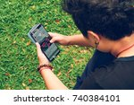 a girl student using samsung... | Shutterstock . vector #740384101