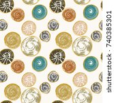 seamless pattern with round... | Shutterstock .eps vector #740385301