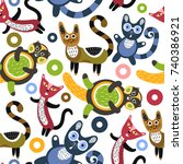 seamless pattern with funny... | Shutterstock .eps vector #740386921