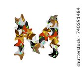 letter m cat font. pet alphabet ... | Shutterstock . vector #740391484
