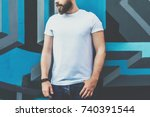summer day. front view. young... | Shutterstock . vector #740391544