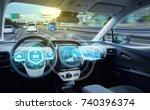 empty cockpit of autonomous car ... | Shutterstock . vector #740396374