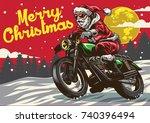 santa claus riding vintage... | Shutterstock .eps vector #740396494