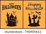 happy halloween scary...   Shutterstock .eps vector #740405611