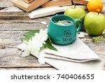 natural fresh jasmin tea in a... | Shutterstock . vector #740406655