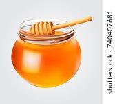 realistic honey jar with honey...   Shutterstock .eps vector #740407681