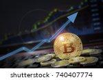 bitcoin currency rising arrow...   Shutterstock . vector #740407774