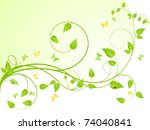young sapling with butterflies... | Shutterstock .eps vector #74040841