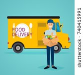 delivery man and track. food... | Shutterstock .eps vector #740415991