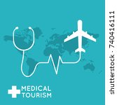 medical tourism. flat design... | Shutterstock .eps vector #740416111