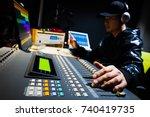 asian male sound engineer... | Shutterstock . vector #740419735