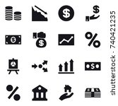 16 vector icon set   coin stack ... | Shutterstock .eps vector #740421235