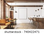 Stock photo white and wooden restaurant interior with a wooden floor loft windows a bar stand with stools and 740422471