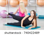 attractive young fitness woman... | Shutterstock . vector #740422489