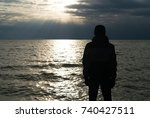 silhouette of lonely man in... | Shutterstock . vector #740427511