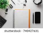 top view of white office table... | Shutterstock . vector #740427631