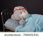 epidemic concept. sick teddy... | Shutterstock . vector #740431531