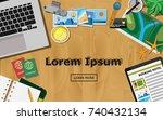 top view of traveler desk  plan ... | Shutterstock .eps vector #740432134
