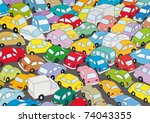car traffic jam | Shutterstock .eps vector #74043355